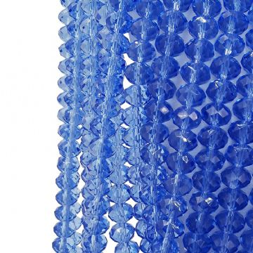 72 pcs x 8mm  Glass Faceted Rondelle Blue 007